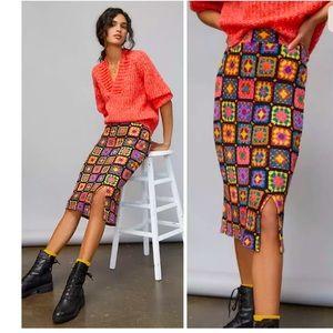 Anthropologie Farm Rio Kaylee Knit Midi Skirt L.